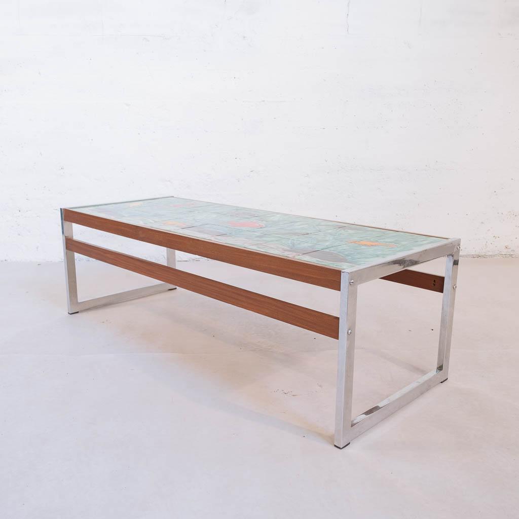 bois carrelage Table chrome basse poissons peint 35jL4AR